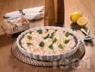 Рецепта Лимонов пай с бисквитен блат, лимонов сметанов крем с жълтъци и глазура от белтъци Багрянка